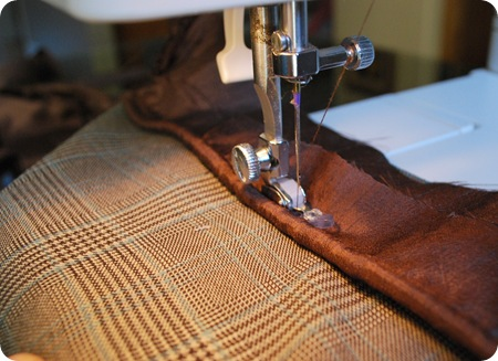 sew piping to plaid pillow