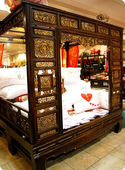 china town carved wood bed