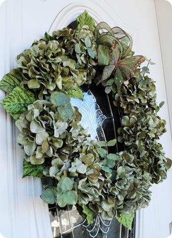 green wreath on door
