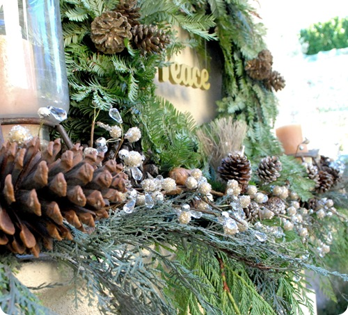 pinecones and garland