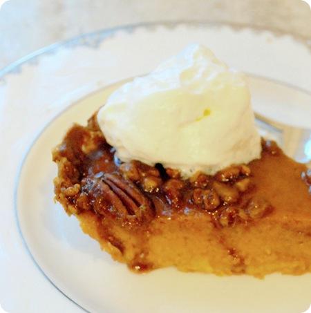 pumpkin pecan caramel pie with whipped cream