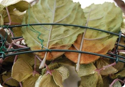 weave leaves through back
