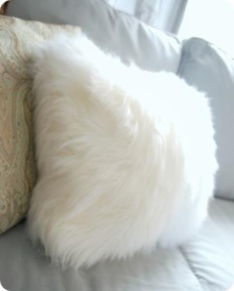 faux fur white throw pillow