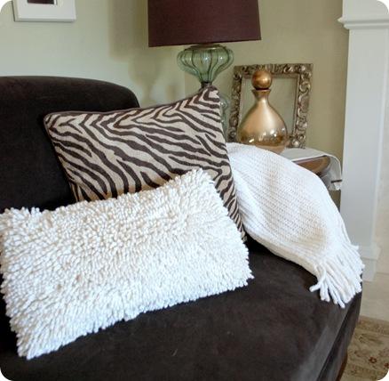 shag pillow in living room
