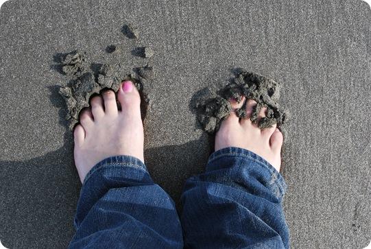 sand between toes