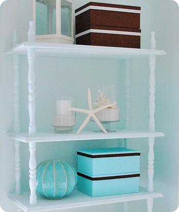 boxes on shelf