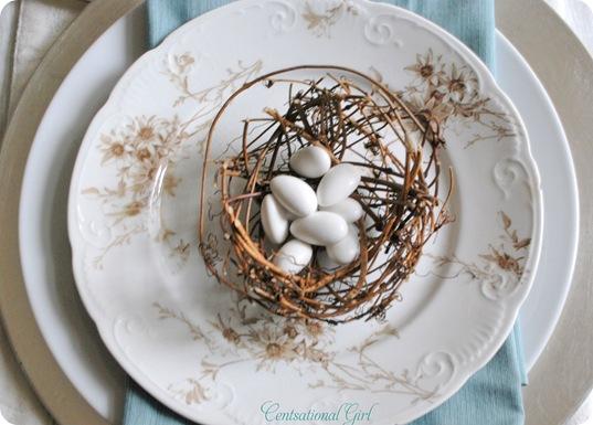 nest on vintage plate