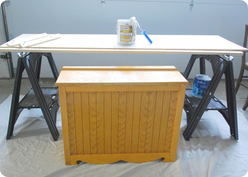 oak laundry sorter and plywood