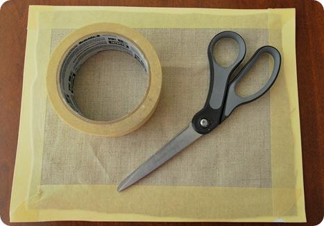 tape linen to cardstock