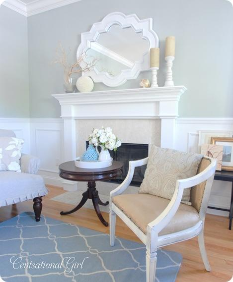 cg living room mantel and chair