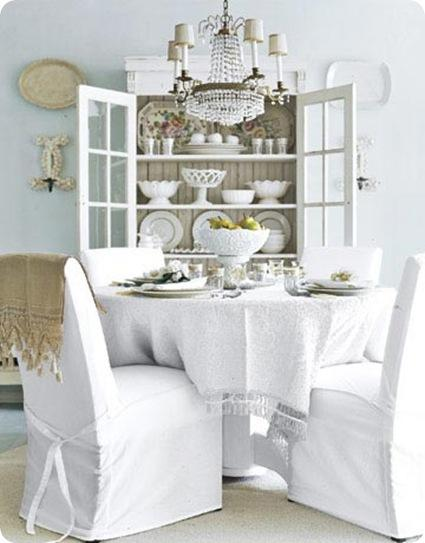white dinign room slipcovered contry living