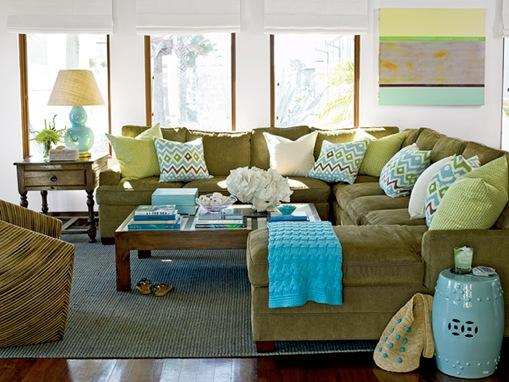 coastal living green and blue sectional