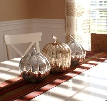 mercury glass pumpkins hooked on houses
