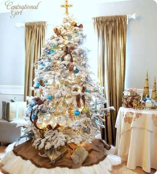 cg flocked tree fur skirt gold cross