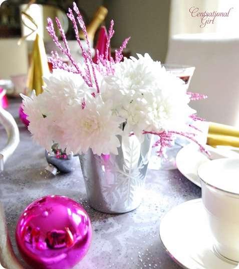 cg white mums snowflake vase