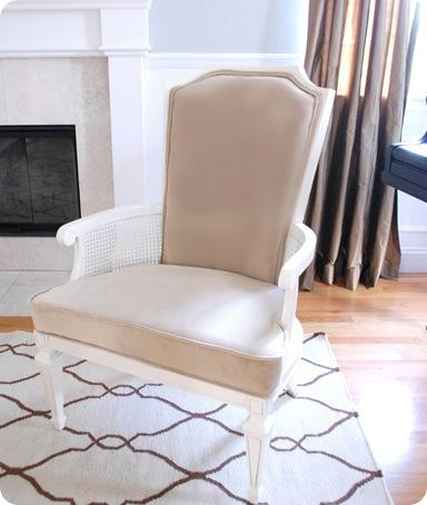 camel velvet chair after