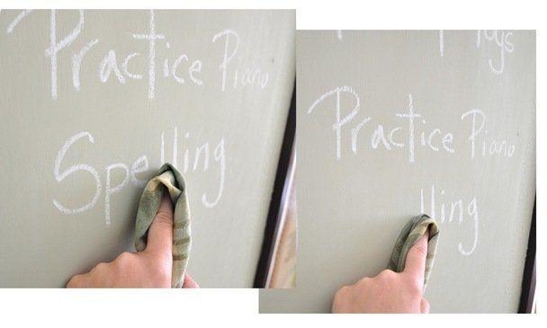 damp rag chalkboard surface