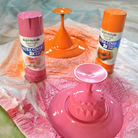 Diy colorful dessert stands centsational style for Upside down paint sprayer