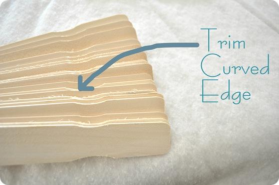 trim edges of sticks
