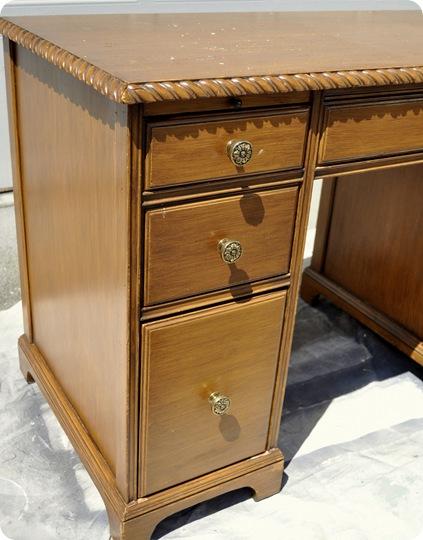 honey desk left side before