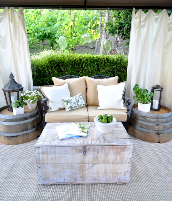 Patio Ideas Barrel Tables DIY White Drapes Curtains Tan Couch Cushions Outdoors Rustic Country Chic
