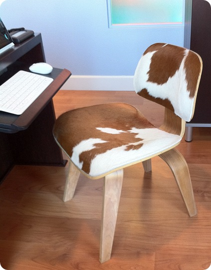 eames inspired cowhide chair