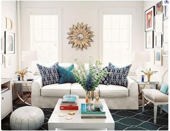 lonny blue lattic rug sunburst mirror