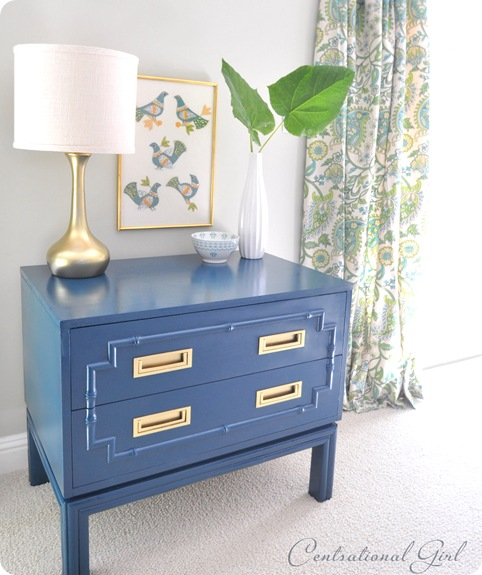 peacock blue painted faux bamboo chest