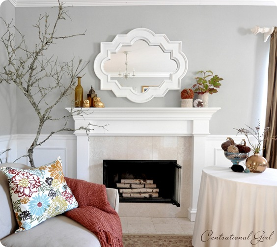 autumn mantel white mirror with branch