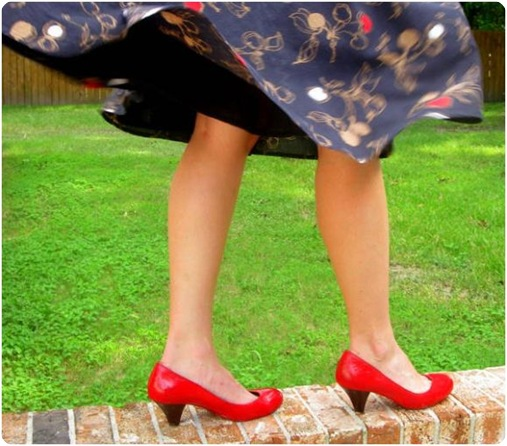 spray painted red shoes