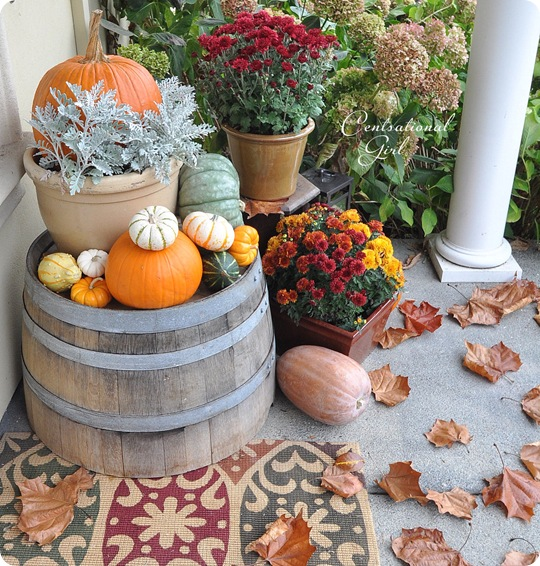 wine barrel with pumpkins cg