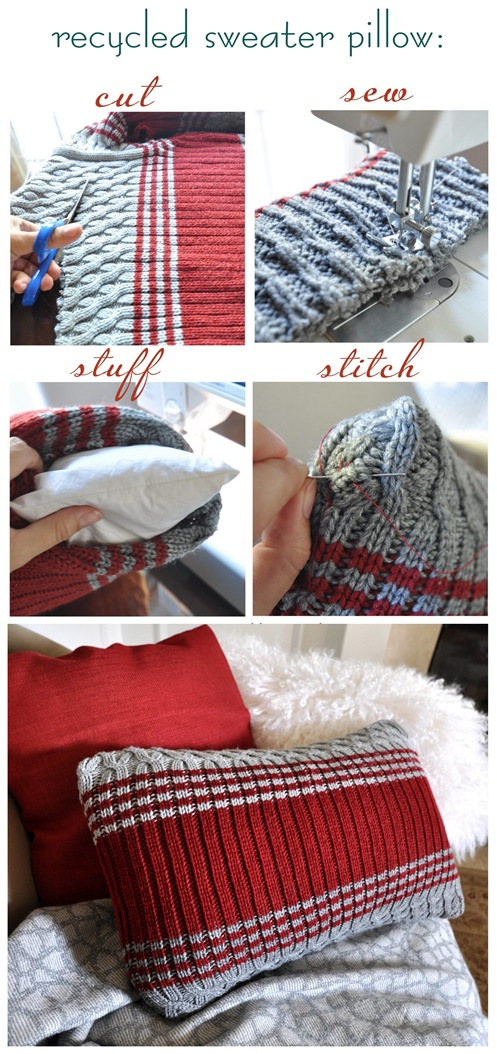 how to make recycled sweater pillow