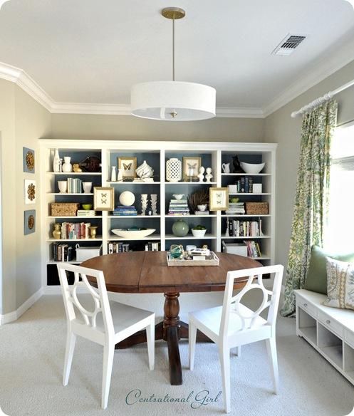 kates bookshelves and table