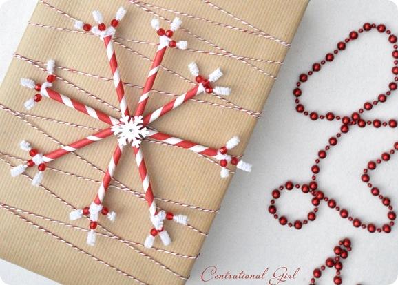 paper straw snowflake on brown package