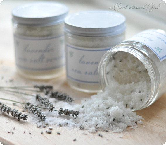 lavender sea salt scrub close up