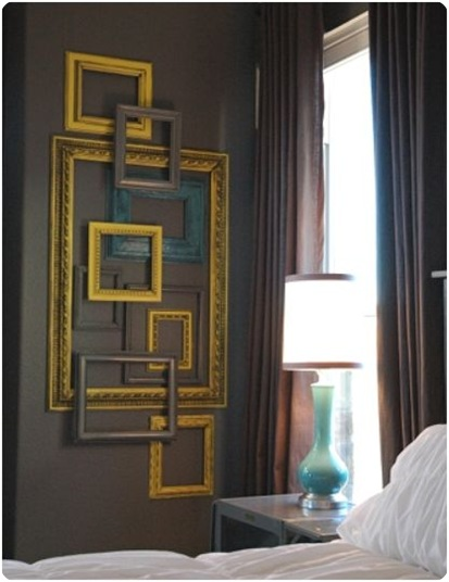 layered open frame gallery wall
