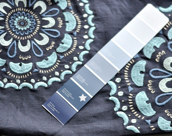 old world blue paint blue fabric