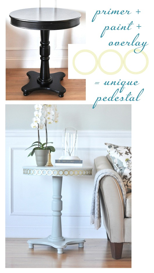 pedestal table with overlays before and after