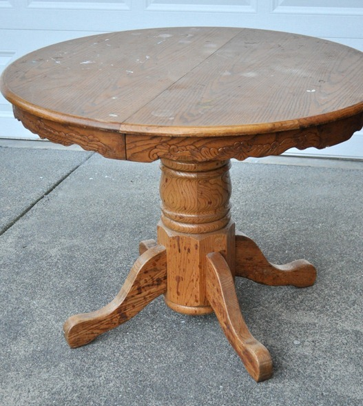 This Thrift Store Find Cost Me $45, A Good Deal For This Solid Wood  Classically Shaped Pedestal. My Friend Needed A Table For Her Breakfast  Nook So When I ...