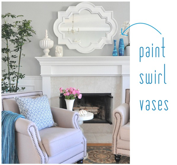 paint swirl vases on mantel