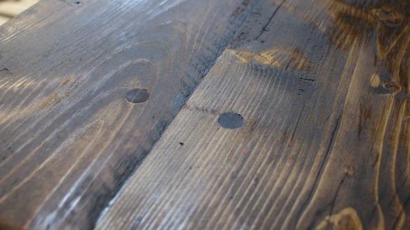 stained reclaimed table detail - Building A Reclaimed Wood Table Centsational Girl