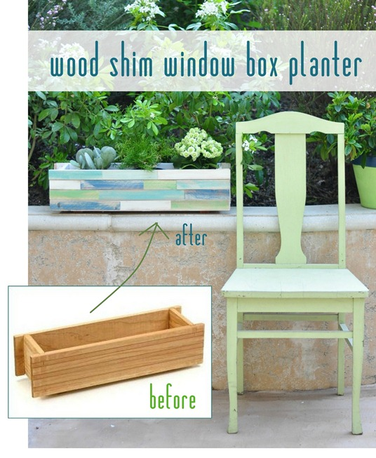wood shim window box planter after