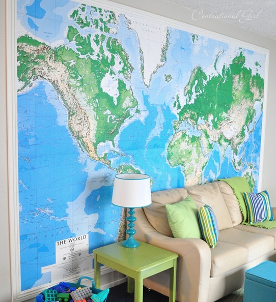 blue and green wall map cg