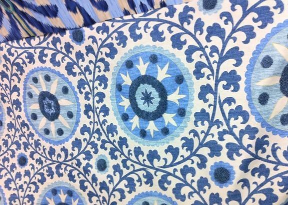 blue medallion fabric