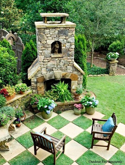 checkerboard pavers outdoor environments