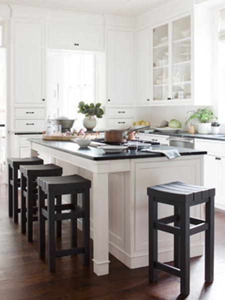 white kitchen black stools country living