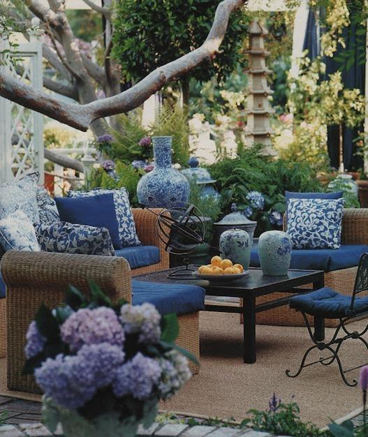 blue fabrics on patio mary mdconald