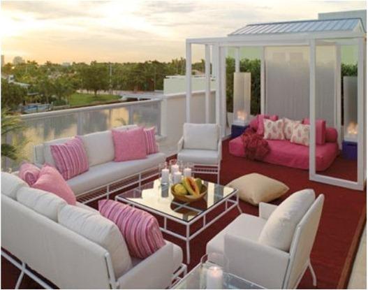 house beautiful pink pillows outdoors