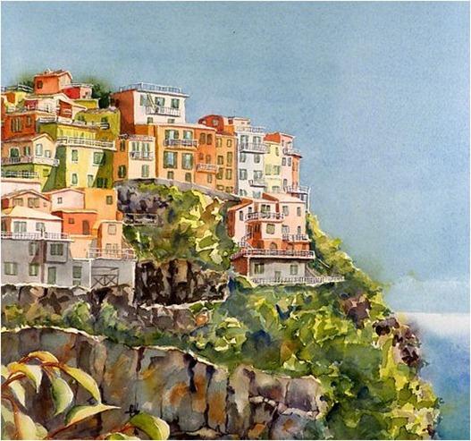 cinque terre italy watercolor