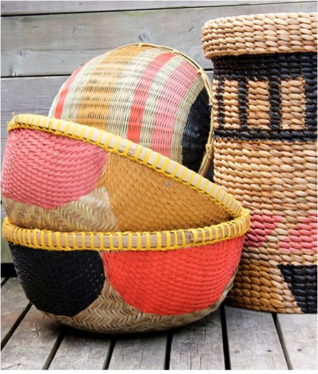 painted baskets themarionhouse blog